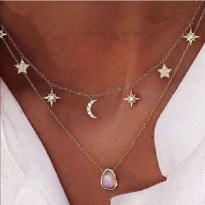 Jewelry - Opal Gold Stars Moons Opal Necklace NEW